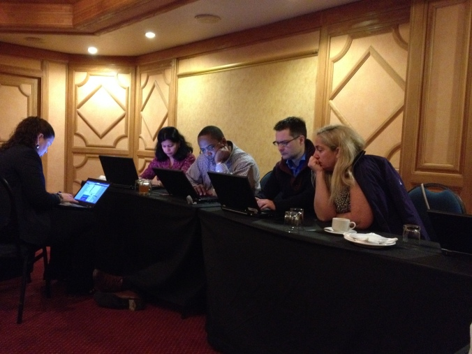 Part of teams 2 and 4 working at the hotel - from L, Aruna, Tarik, Wouter and Valentina