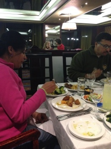 Aruna and her 4 plates of veggies!
