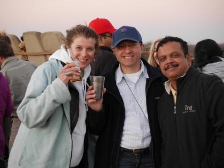 Effie, Leigh and Savi enjoying sundowners