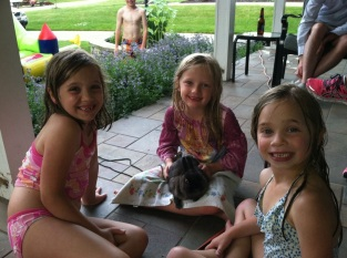 Mrs. Farmer's class reunited with Gigi the bunny - Addie, Lauren and McKenna